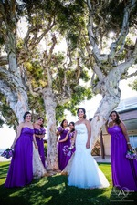 Bride with silver waist belt wedding dress and bridesmaids with purple dresses and purple bouquets next to melaleuca tree by Wedding Photographers San Diego Andrew Abouna